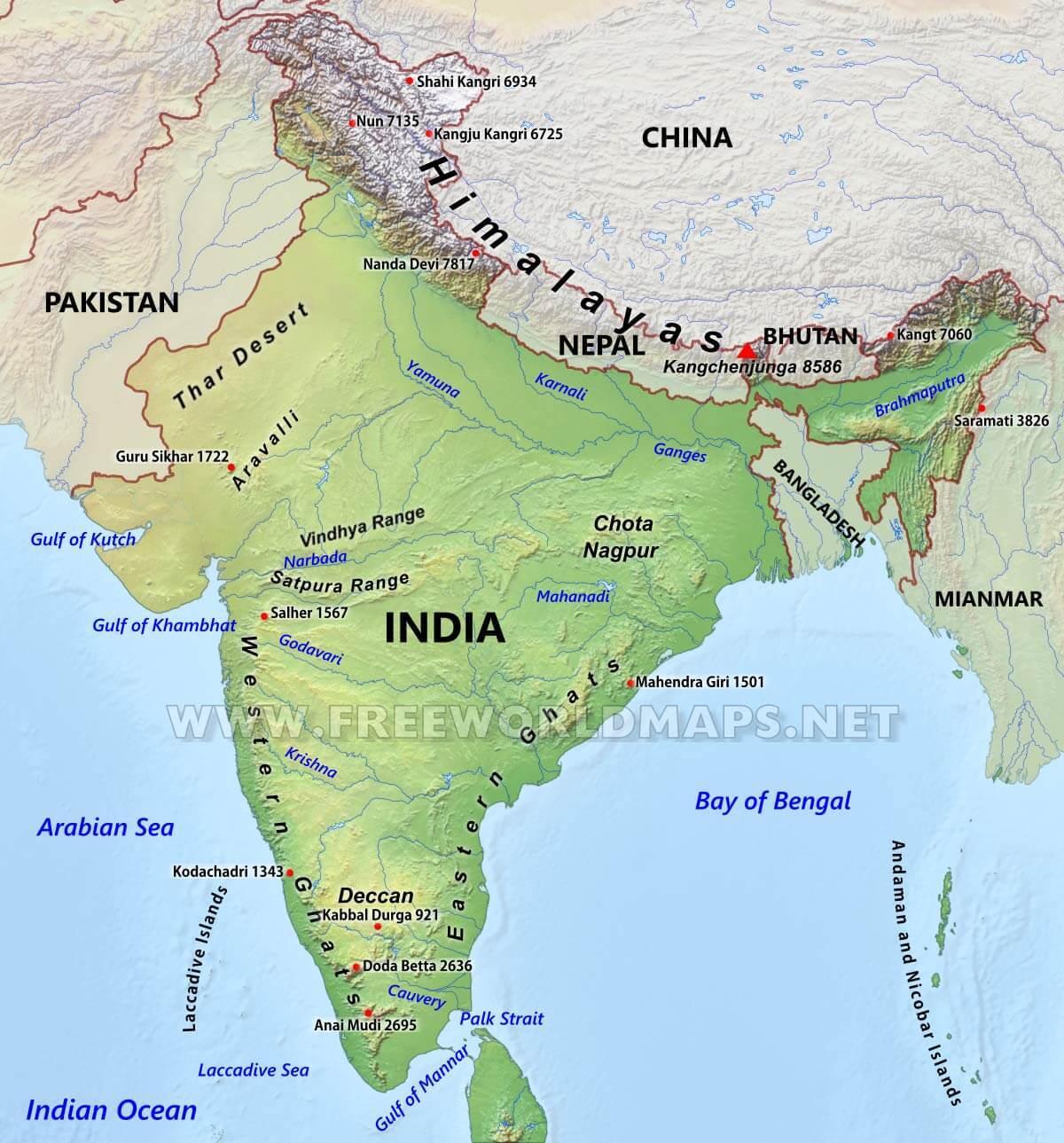 Südasien Karte.Bergketten Von Indien Karte Gebirge Karte Von Indien Südasien