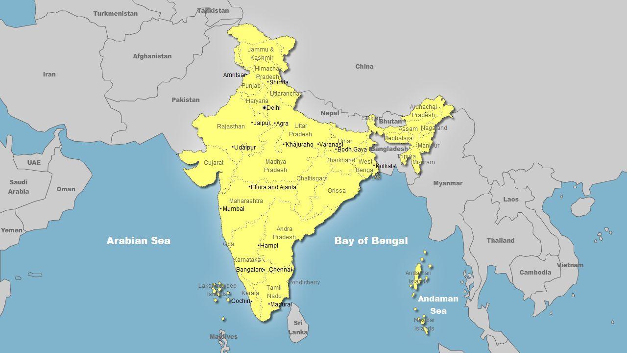 Indien Auf Der Weltkarte World Map Mit Indien Sudasien Ostasien