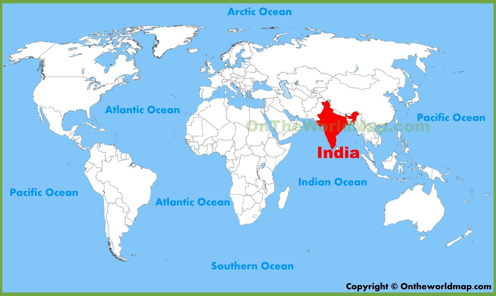 Indien Globale Anzeigen Indien Auf Der Weltkarte Im Sudlichen