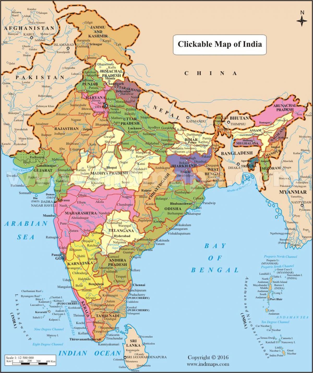 indien bundesstaaten karte Karte Indiens mit Bundesstaaten und Städte   Karte von Indien mit